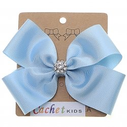 Large Baby Blue Bow With Glitter Diamantes