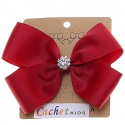 Large Burgundy Bow With Glitter Diamantes