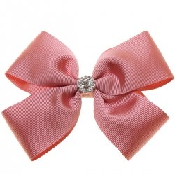 Large Dusky Pink Bow With Glitter Diamantes