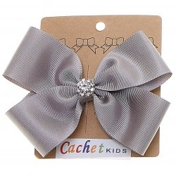 Large Ice Grey Bow With Glitter Diamantes