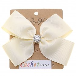 Large Ivory Bow With Glitter Diamantes