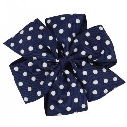 Large Navy White Polka Dots Bow