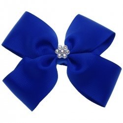 Large Royal Blue Bow With Glitter Diamantes