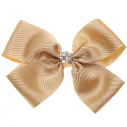 Large Tan Colour Bow With Glitter Diamantes
