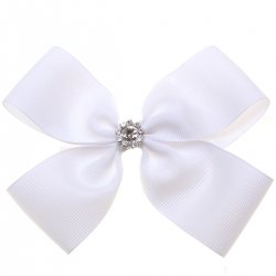 Large White Bow With Glitter Diamantes