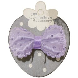 Lilac Hair Bow With Glitter Lilac Polka Dots