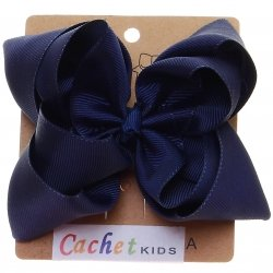 Large Navy Double Stacking Bow