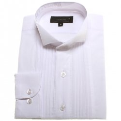 Front pleated boys wing collar white shirt