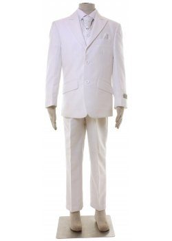 Boys Off White Pale Ivory 5 Piece Suit With Cravat