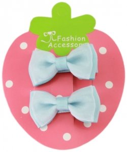 Double Bows Satin Blue Hair Bow