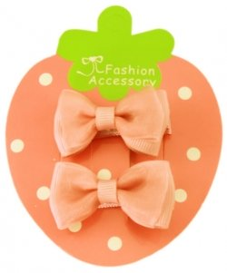 Double Bows Satin Light Peach Hair Bow