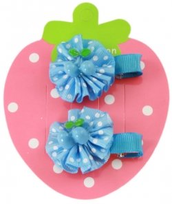 Pair of blue strawberry bow hair clips