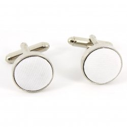 Boys Cufflinks Circle With White Fabric