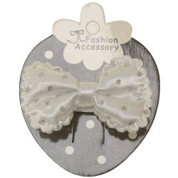 White Hair Bow With Glitter White Polka Dots