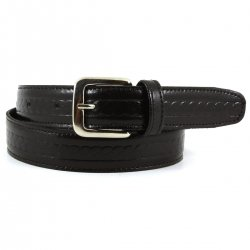 Boys Black Belt With Pattern 100% Leather