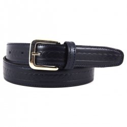 Boys Navy Belt in Leather With Pattern