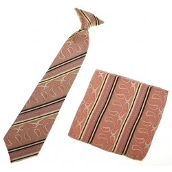12 To 16 Years Boys Clip on Tie Dark Salmon Colour