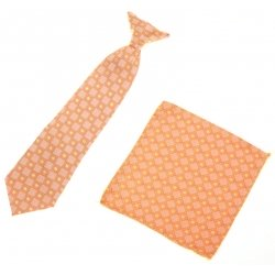7 To 11 Years Boys Clip on Tie Orange Pattern