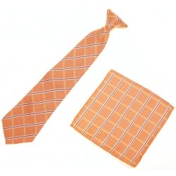 12 To 16 Years Boys Clip on Orange Tie Stripes Diamond Pattern