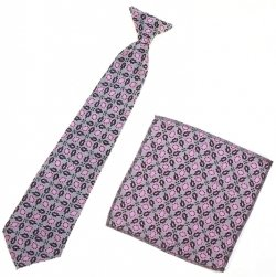 12 To 16 Years Boys Clip on Pink Tie With Pink And Black Pattern