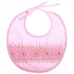 Hand smocked pink bib with embroidery and checked pattern