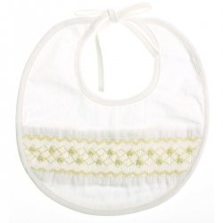 Hand smocked white bib with lemon embroidery