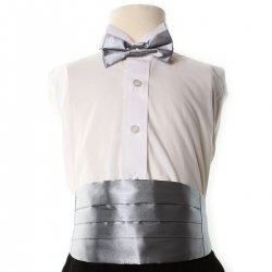 Boys silver cummerbund and silver bow tie set 3yrs To 8yrs