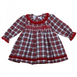 Made in Portugal Baby Girls Red Tartan Smocked Dress