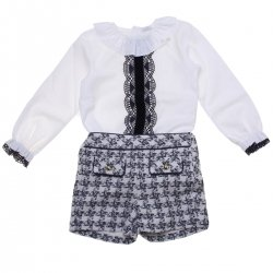 Made in Portugal Girls Ivory Blouse Navy Check Shorts Set