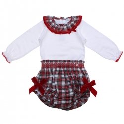 Made in Portugal Baby Girls White Blouse Bodysuit Red Tartan Bloomers Outfit