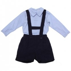 Made in Portugal Baby Boys Blue Bodysuit Shirt Navy H Braces Shorts Set