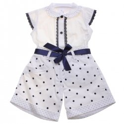 Spanish Girls Off White Navy Polka Dots Top And Shorts Set Outfit