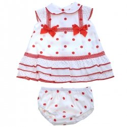 Spanish Baby Girls Ivory Or Off White Dress And Panty Set