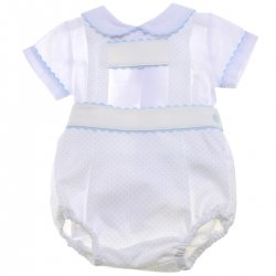 Spanish Baby Boys White Ivory H brace Romper Outfit