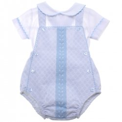 Spanish Baby Boys White Blue Lace Dungarees Outfit