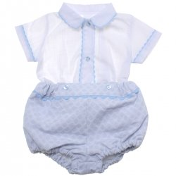 Spanish Baby Boys White Top Blue Shorts Blue Lace Two Piece Set
