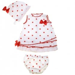 Spanish Baby Girls Off White Dress Bonnet And Panty Set