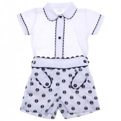 Spanish Baby Boys Shirt And Shorts Outfit In White Navy Polka Dots