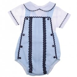 Baby Boys White Blue Outfit with Navy Lace Navy Button