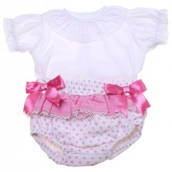 Baby Girls White Blouse Pink Polka Dots Jam Pants Set