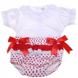 Baby Girls White Blouse Red Polka Dots Jam Pants Set