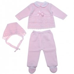 Baby Girls Knitted Set With Bonnet For Spring Summer