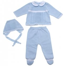 Baby Boys Blue Knitted Set For Spring Summer