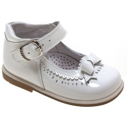 Girls White Patent Shoes Bow And Scallop Decoration