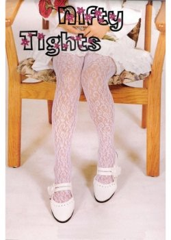 Girls White Lace Tights