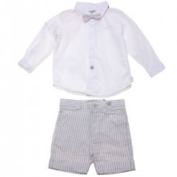 Sale Spring Summer Spanish Boboli Boys White Linen Shirt Grey Stripes Shorts Set