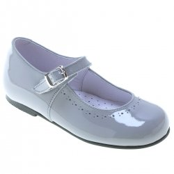 Girls Light Grey Mary Jane Patent Shoes Leather Made in Spain