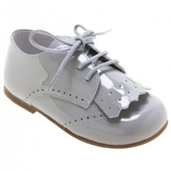 Boys Ice Grey Patent Shoes With Removable Fringe