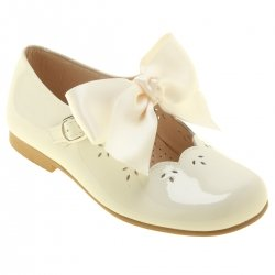 Girls Ivory Patent Mary Jane Bow Shoes Removable Bows