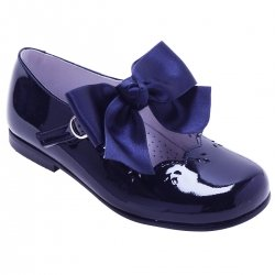 21f13634b8ce Girls Navy Mary Jane Patent Shoes With Removable Bow